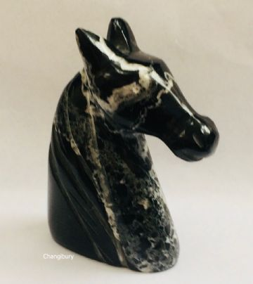 Small Marble BLACK HORSE HEAD Lucky Decorative Ornament Stone